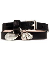 Alexander McQueen | Skull Charm Double Wrap Leather Bracelet | Lyst