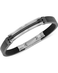 Swarovski - Bengal Men'S Hematite-Tone Black Leather Bracelet - Lyst