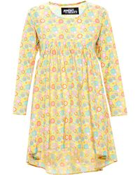 Jeremy Scott Printed Babydoll Dress yellow - Lyst
