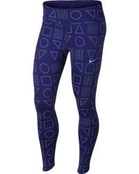 7003c7a55168a Nike Power Epic Lux Flash Striped Running Leggings in Black - Lyst