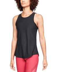 a654010e501ab Lyst - Under Armour Fitted Racerback Tank Top in Gray