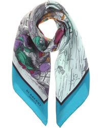 Burberry Prorsum - Raining Cats, Dogs And Pitchforks Printed Silk Scarf - Lyst