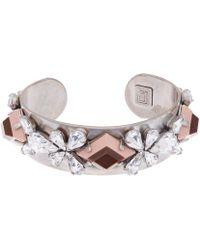 Dannijo Oxidised Silver Crystal Nellie Ii Cuff Bracelet - Lyst