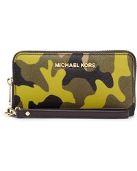 Michael by Michael Kors Jet Set Leather Large Multifunction Travel Phone Case - Lyst