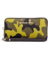 MICHAEL Michael Kors Jet Set Leather Large Multifunction Travel Phone Case - Lyst