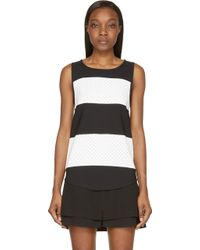 Jay Ahr Black And White Striped Eyelet Tank Top - Lyst