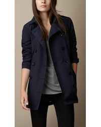 Burberry Leather Trim Technical Cotton Trench Coat - Lyst