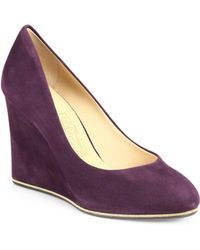 Ferragamo Fiamma Suede Wedge Pumps - Lyst