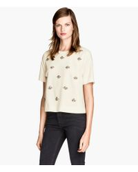 H&M Top with Beaded Embroidery - Lyst