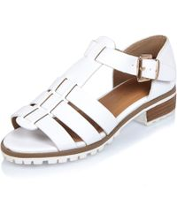 River Island | White Strappy Open Toe Geek Shoes | Lyst