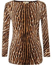 Michael Kors 34 Sleeved Animal Print Top - Lyst