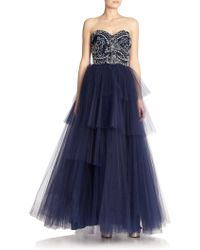 Notte by Marchesa Strapless Corded Lace Ball Gown - Lyst