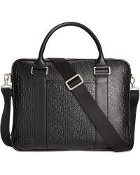 Calvin Klein Logo Embossed Saffiano Leather Attache black - Lyst