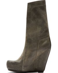 Rick Owens Grey Distressed Notched Wedge Boots - Lyst