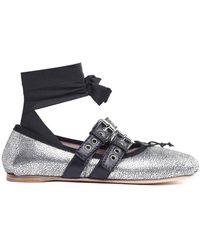 Miu Miu - Lace-up Crackled Metallic-leather Ballet Flats - Lyst