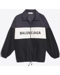 Hot Balenciaga - Nylon Logo Denim Jacket - Lyst 0e0da8cc06