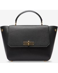 B Turn Extra Small Black, Womens goat leather top handle bag in black Bally