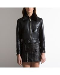 Bally Leather Bomber Jacket With Fur Collar Women S Leather Aviator
