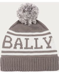 Bally - Knitted Cotton Beanie Men's Cotton Knit Pompom Beanie In Grey - Lyst