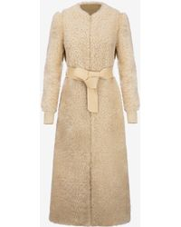 Bally - Shearling Long Coat - Lyst