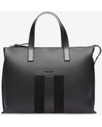Bally | Bivios Men ́s Leather Stripe Business Bag In Charcoal | Lyst