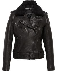 Banana Republic - Leather Moto Jacket With Shearling Collar - Lyst