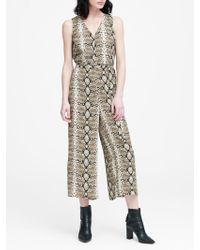 3624175f17c Banana Republic - Petite Snake Print Wide-leg Cropped Jumpsuit - Lyst