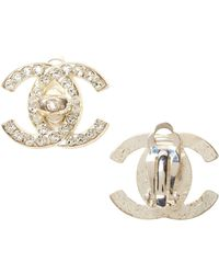 Banana Republic - Luxe Finds | Chanel Silver Crystal Turnlock Clip-on Earring - Lyst