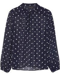 Banana Republic - Petite Sheer Dot Button-front Poet-sleeve Top - Lyst