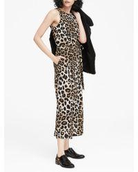 a000866d014f Banana Republic - Leopard Print Cropped Wide-leg Jumpsuit - Lyst