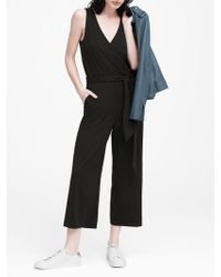 64feeefbae7 Banana Republic - Petite Soft Ponte Cropped Jumpsuit - Lyst