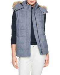 Banana Republic Factory - Petite Fur Hood Puffer Vest - Lyst