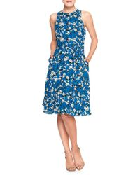 Banana Republic Factory - Print Belted Fit And Flare Dress - Lyst