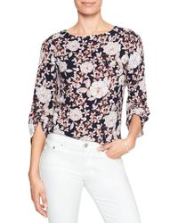 Banana Republic Factory - Print 3/4 Ruched-sleeve Blouse - Lyst