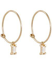 Ileana Makri - Baguette White Diamond Hoop Earrings - Lyst