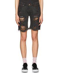 NSF - Jane Distressed Denim Shorts - Lyst