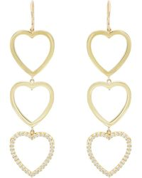 Jennifer Meyer - Diamond Three-open-heart Drop Earrings - Lyst