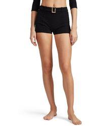 Lisa Marie Fernandez Seersucker Belted Swim Shorts
