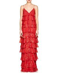 J. Mendel - Metallic Striped Silk-blend Gown - Lyst