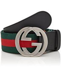 81881d64b97 Lyst - Gucci Web Striped Canvas Belt for Men