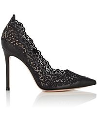 Gianvito Rossi - Evie Leather & Lace Pumps - Lyst