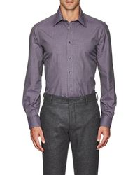 Luciano Barbera - Micro-checked Cotton Poplin Shirt - Lyst
