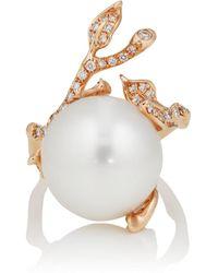 Samira 13 - Diamond & Pearl Vine Ring - Lyst