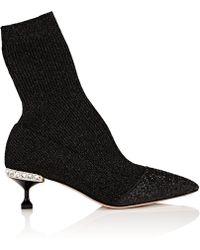 Miu Miu - Embellished-heel Rib-knit Ankle Boots - Lyst