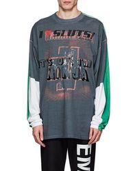 Vetements - Colorblocked Cotton Oversized T-shirt - Lyst