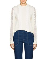 Chloé - Lace-inset Stretch-wool Sweater - Lyst