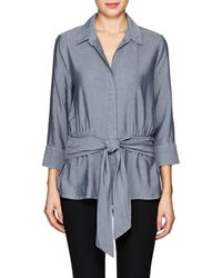 L'Agence - Colette Chambray Tie-front Shirt - Lyst