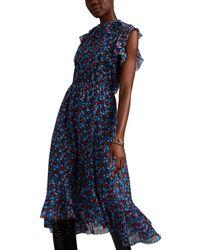 Robert Rodriguez Juli Floral Cotton-silk Dress - Blue