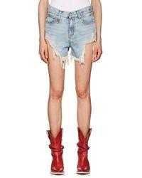 R13 - Shredded Slouch Denim Cutoff Shorts - Lyst
