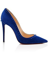 c618d5950819 Lyst - Christian Louboutin Anjalina Suede Spiked Red Sole Pump in Black